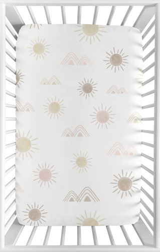 Boho Desert Sun Girl Fitted Mini Crib Sheet Baby Nursery by Sweet Jojo Designs For Portable Crib or Pack and Play - Blush Pink Mauve Gold Taupe Bohemian Watercolor Mountains Southwest Nature Outdoors Minimalist Geometric - Click to enlarge