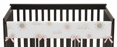 Boho Desert Sun Girl Long Front Crib Rail Guard Baby Teething Cover Protector Wrap by Sweet Jojo Designs - Blush Pink Mauve Gold Taupe Bohemian Watercolor Mountains Southwest Nature Outdoors Minimalist Geometric