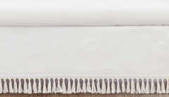 Boho Desert Sun Girl or Boy Baby Nursery Crib Bed Skirt Dust Ruffle by Sweet Jojo Designs - Ivory Beige Off White Cream Bohemian Minimalist Tassles Fringe Macrame Cotton Neutral