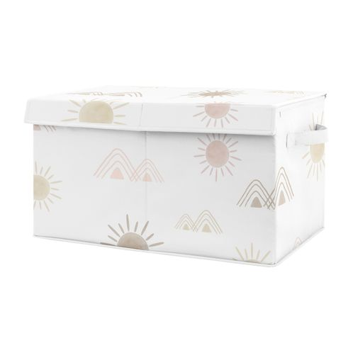 Boho Desert Sun Girl Small Fabric Toy Bin Storage Box Chest For Baby Nursery or Kids Room by Sweet Jojo Designs - Blush Pink Mauve Gold Taupe Bohemian Watercolor Mountains Southwest Nature Outdoors Minimalist Geometric - Click to enlarge