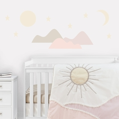 Boho Desert Sun Peel and Stick Wall Decal Stickers Art Nursery Decor by Sweet Jojo Designs - Set of 4 Sheets - Blush Pink Mauve Gold Taupe Bohemian Mountains Southwest Nature Outdoors Minimalist Geometric