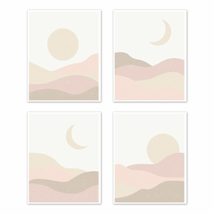 Boho Desert Sun Wall Art Prints Room Decor for Baby, Nursery, and Kids by Sweet Jojo Designs - Set of 4 - Pink Mauve Gold Ivory Taupe Bohemian Abstract Particle Mountain Southwest Nature Outdoors Moon Sandscape