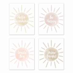 Boho Desert Sun Wall Art Prints Room Decor for Baby, Nursery, and Kids by Sweet Jojo Designs - Set of 4 - Pink Mauve Gold Ivory Taupe Bohemian Watercolor Southwest Nature Outdoors Sunshine Dream