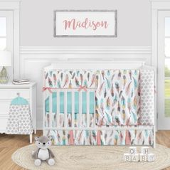 Boho Feather Baby Girl Nursery Crib Bedding Set by Sweet Jojo Designs - 5 pieces - Turquoise Blue Coral and Grey