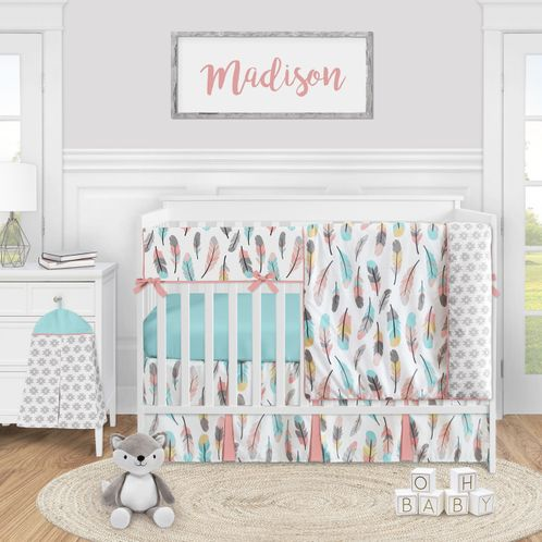 Boho Feather Baby Girl Nursery Crib Bedding Set by Sweet Jojo Designs - 5 pieces - Turquoise Blue Coral and Grey - Click to enlarge