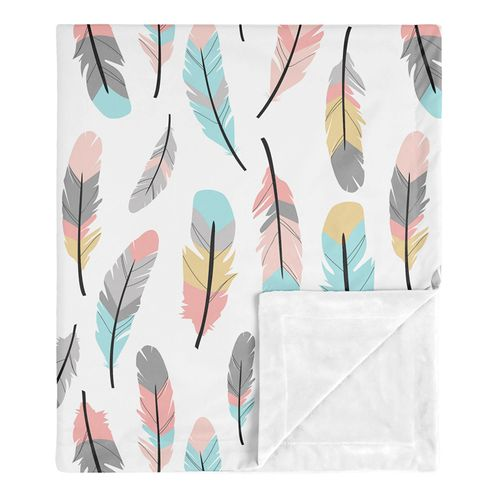 Boho Feather Baby Girl Receiving Security Swaddle Blanket for Newborn or Toddler Nursery Car Seat Stroller Soft Minky by Sweet Jojo Designs - Turquoise, Coral and Grey - Click to enlarge