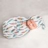 Boho Feather Girl Cocoon and Beanie Hat Set Jersey Stretch Knit Sleeping Bag for Infant Newborn Nursery Sleep Wrap Sack by Sweet Jojo Designs - Turquoise Blue Coral Pink and Grey Bohemian