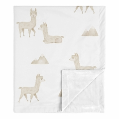 Boho Llama Baby Boy or Girl Blanket Receiving Security Swaddle for Newborn or Toddler Nursery Car Seat Stroller Soft Minky by Sweet Jojo Designs - Gender Neutral Beige Taupe Tan and White Bohemian Southwest Aztec Watercolor Mountain Cactus Alpaca Farmhouse Animal