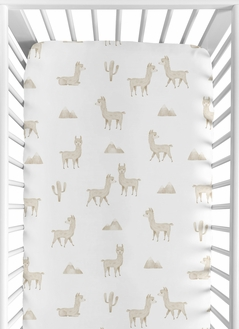 Boho Llama Boy or Girl Fitted Crib Sheet Baby or Toddler Bed Nursery by Sweet Jojo Designs - Gender Neutral Beige Taupe Tan and White Bohemian Southwest Aztec Watercolor Mountain Cactus Alpaca Farmhouse Animal