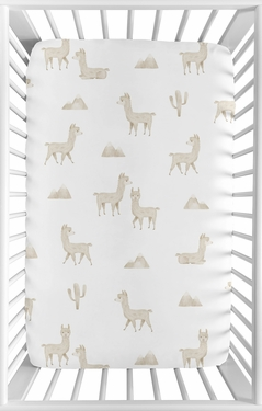 Boho Llama Boy or Girl Fitted Mini Crib Sheet Baby Nursery by Sweet Jojo Designs For Portable Crib or Pack and Play - Gender Neutral Beige Taupe Tan and White Bohemian Southwest Aztec Watercolor Mountain Cactus Alpaca Farmhouse Animal