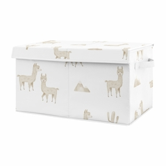 Boho Llama Boy or Girl Small Fabric Toy Bin Storage Box Chest For Baby Nursery or Kids Room by Sweet Jojo Designs - Gender Neutral Beige Taupe Tan and White Bohemian Southwest Aztec Watercolor Mountain Cactus Alpaca Farmhouse Animal