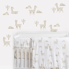 Boho Llama Large Peel and Stick Wall Decal Stickers Art Nursery Decor by Sweet Jojo Designs - Set of 4 Sheets - Gender Neutral Beige Taupe Tan and White Bohemian Southwest Aztec Watercolor Mountain Cactus Alpaca Farmhouse Animal