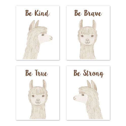 Boho Llama Wall Art Prints Room Decor for Baby, Nursery, and Kids by Sweet Jojo Designs - Set of 4 - Gender Neutral Beige Taupe Tan and White Bohemian Southwest Watercolor Alpaca Farmhouse Animal Be Kind Brave True Strong - Click to enlarge