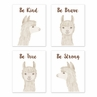 Boho Llama Wall Art Prints Room Decor for Baby, Nursery, and Kids by Sweet Jojo Designs - Set of 4 - Gender Neutral Beige Taupe Tan and White Bohemian Southwest Watercolor Alpaca Farmhouse Animal Be Kind Brave True Strong