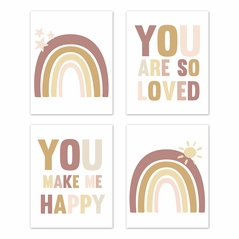 Boho Rainbow Wall Art Prints Room Decor for Baby, Nursery, and Kids by Sweet Jojo Designs - Set of 4 - Blush Pink Dusty Rose Gold Yellow Mauve Taupe Beige Tan Bohemian Stars Sun Celestial Vintage Sky Happy Loved