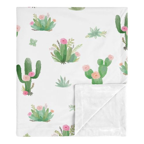 Boho Watercolor Cactus Floral Baby Girl Receiving Security Swaddle Blanket for Newborn or Toddler Nursery Car Seat Stroller Soft Minky by Sweet Jojo Designs - Pink and Green - Click to enlarge