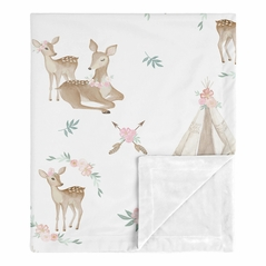 Boho Watercolor Woodland Deer Floral Baby Girl Receiving Security Swaddle Blanket for Newborn or Toddler Nursery Car Seat Stroller Soft Minky by Sweet Jojo Designs - Blush Pink, Mint Green and White