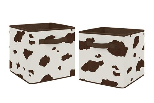Brown and Cream Cow Print Foldable Fabric Storage Cube Bins Boxes Organizer Toys Kids Baby Childrens for Wild West Collection by Sweet Jojo Designs - Set of 2 - Click to enlarge