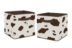 Brown and Cream Cow Print Foldable Fabric Storage Cube Bins Boxes Organizer Toys Kids Baby Childrens for Wild West Collection by Sweet Jojo Designs - Set of 2