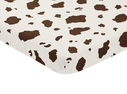 Brown Cow Print Baby Fitted Mini Portable Crib Sheet for Western Wild West Collection by Sweet Jojo Designs - Click to enlarge
