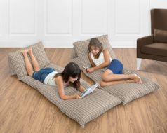 Brown Plaid Kids Teen Floor Pillow Case Lounger Cushion Cover for All Star Sports Collection