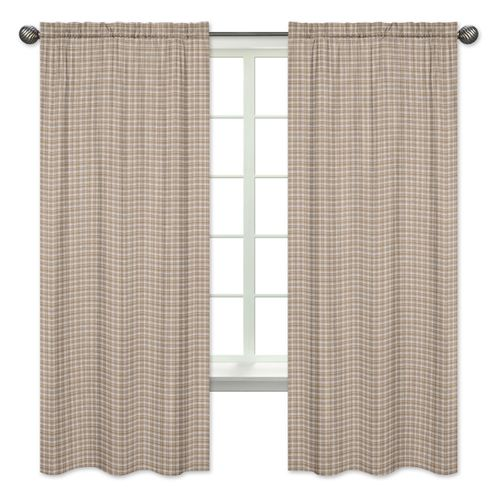 Brown Plaid Window Treatment Panels for All Star Sports Collection by Sweet Jojo Designs - Set of 2 - Click to enlarge