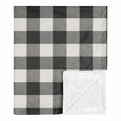 Buffalo Plaid Baby Boy or Girl Receiving Security Swaddle Blanket for Newborn or Toddler Nursery Car Seat Stroller Soft Minky by Sweet Jojo Designs - Black and White Check Rustic Woodland Flannel