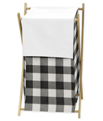 Buffalo Plaid Baby Kid Clothes Laundry Hamper by Sweet Jojo Designs - Black and White Check Rustic Woodland Flannel