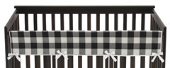 Buffalo Plaid Boy or Girl Long Front Crib Rail Guard Baby Teething Cover Protector Wrap by Sweet Jojo Designs - Black and White Check Rustic Woodland Flannel
