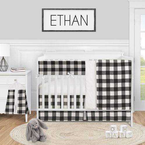 Buffalo Plaid Check Baby Boy or Girl Nursery Crib Bedding Set by Sweet Jojo Designs - 5 pieces - Black and White Rustic Woodland Flannel Country Lumberjack - Click to enlarge