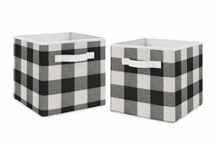 Buffalo Plaid Foldable Fabric Storage Cube Bins Boxes Organizer Toys Kids Baby Childrens by Sweet Jojo Designs - Set of 2 - Black and White Check Rustic Woodland Flannel