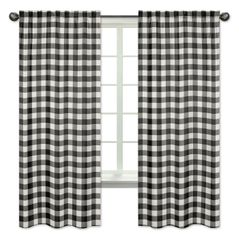 Buffalo Plaid Window Treatment Panels Curtains by Sweet Jojo Designs - Set of 2 - Black and White Check Rustic Woodland Flannel