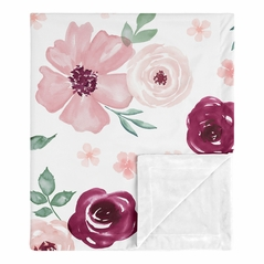 Burgundy and Pink Watercolor Floral Baby Girl Blanket Receiving Security Swaddle for Newborn or Toddler Nursery Car Seat Stroller Soft Minky by Sweet Jojo Designs - Blush, Maroon, Wine, Rose, Green and White Shabby Chic Flower Farmhouse