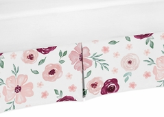 Burgundy and Pink Watercolor Floral Girl Baby Crib Bed Skirt Nursery Dust Ruffle by Sweet Jojo Designs - Blush, Maroon, Wine, Rose, Green and White Shabby Chic Flower Farmhouse