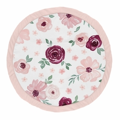 Burgundy and Pink Watercolor Floral Girl Baby Playmat Tummy Time Infant Play Mat by Sweet Jojo Designs - Blush, Maroon, Wine, Rose, Green and White Shabby Chic Flower Farmhouse