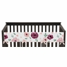Burgundy and Pink Watercolor Floral Girl Long Front Crib Rail Guard Baby Teething Cover Protector Wrap by Sweet Jojo Designs - Blush, Maroon, Wine, Rose, Green and White Shabby Chic Flower Farmhouse