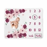 Burgundy and Pink Watercolor Floral Girl Milestone Blanket Monthly Newborn First Year Growth Mat Baby Shower Memory Keepsake Gift Picture by Sweet Jojo Designs - Blush, Maroon, Wine, Rose, Green and White Shabby Chic Flower Farmhouse