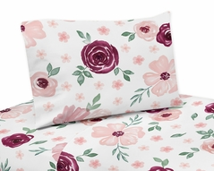 Burgundy and Pink Watercolor Floral Queen Sheet Set by Sweet Jojo Designs - 4 piece set - Blush, Maroon, Wine, Rose, Green and White Shabby Chic Flower Farmhouse