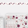 Burgundy and Pink Watercolor Floral Wallpaper Wall Border by Sweet Jojo Designs - Blush, Maroon, Wine, Rose, Green and White Shabby Chic Flower Farmhouse