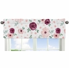 Burgundy and Pink Watercolor Floral Window Treatment Valance by Sweet Jojo Designs - Blush, Maroon, Wine, Rose, Green and White Shabby Chic Flower Farmhouse