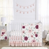 Burgundy Watercolor Floral Baby Girl Nursery Crib Bedding Set by Sweet Jojo Designs - 4 pieces - Blush Pink, Maroon, Wine, Rose, Green and White Shabby Chic Flower Farmhouse