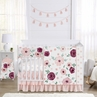 Burgundy Watercolor Floral Baby Girl Nursery Crib Bedding Set by Sweet Jojo Designs - 5 pieces - Blush Pink , Maroon, Wine, Rose, Green and White Shabby Chic Flower Farmhouse