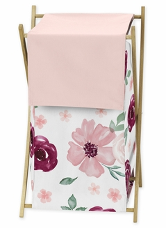 Burgundy Watercolor Floral Baby Kid Clothes Laundry Hamper by Sweet Jojo Designs - Blush Pink, Maroon, Wine, Rose, Green and White Shabby Chic Flower Farmhouse