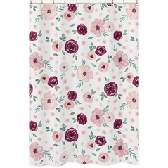 Burgundy Watercolor Floral Bathroom Fabric Bath Shower Curtain by Sweet Jojo Designs - Blush Pink, Maroon, Wine, Rose, Green and White Shabby Chic Flower Farmhouse