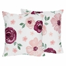 Burgundy Watercolor Floral Decorative Accent Throw Pillows by Sweet Jojo Designs - Set of 2 - Blush Pink, Maroon, Wine, Rose, Green and White Shabby Chic Flower Farmhouse