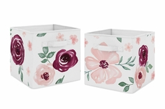 Burgundy Watercolor Floral Foldable Fabric Storage Cube Bins Boxes Organizer Toys Kids Baby Childrens by Sweet Jojo Designs - Set of 2 - Blush Pink, Maroon, Wine, Rose, Green and White Shabby Chic Flower Farmhouse