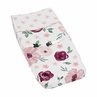 Burgundy Watercolor Floral Girl Baby Nursery Changing Pad Cover by Sweet Jojo Designs - Blush Pink, Maroon, Wine, Rose, Green and White Shabby Chic Flower Farmhouse