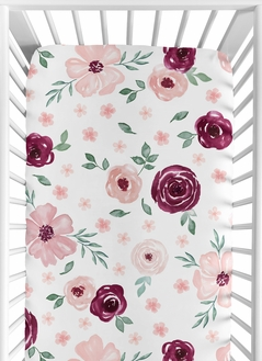 Burgundy Watercolor Floral Girl Fitted Crib Sheet Baby or Toddler Bed Nursery by Sweet Jojo Designs - Blush Pink, Maroon, Wine, Rose, Green and White Shabby Chic Flower Farmhouse