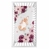 Burgundy Watercolor Floral Girl Fitted Crib Sheet Baby or Toddler Bed Nursery Photo Op by Sweet Jojo Designs - Blush Pink, Maroon, Wine, Rose, Green and White Shabby Chic Flower Farmhouse