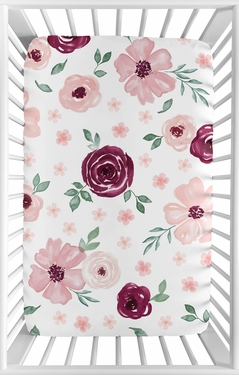Burgundy Watercolor Floral Girl Fitted Mini Crib Sheet Baby Nursery by Sweet Jojo Designs For Portable Crib or Pack and Play - Blush Pink, Maroon, Wine, Rose, Green and White Shabby Chic Flower Farmhouse